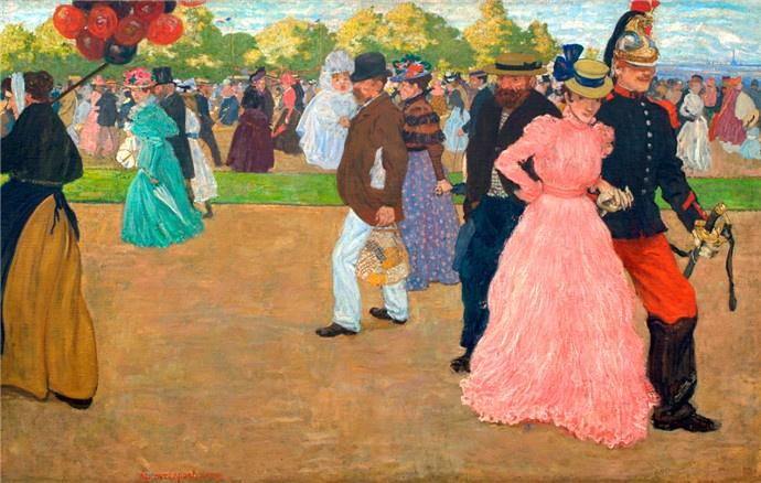 Henri Jacques Edouard Evenepoel- La promenade du dimanche au Bois de Boulogne