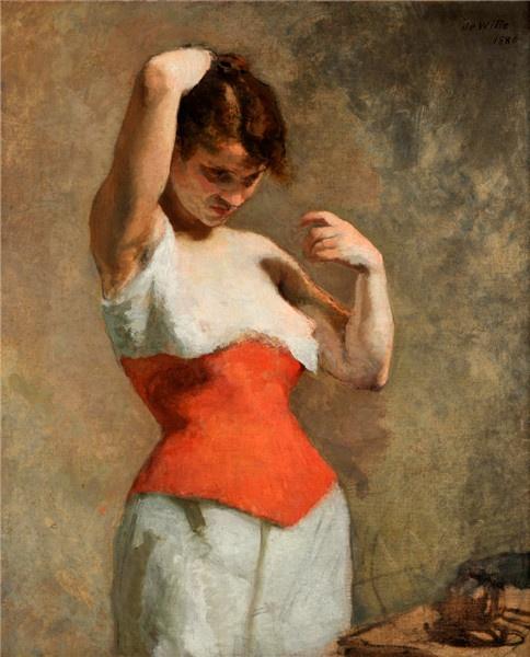 Adrien de Witte - Femme au corset rouge