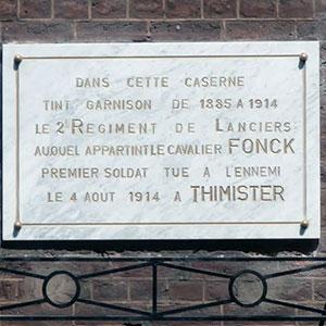 Plaque en hommage au cavalier Fonck