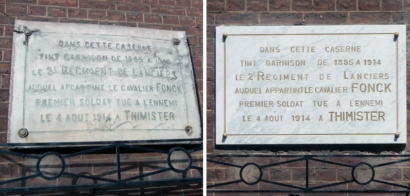 Plaque en hommage au Cavalier Fonck - ©Ville de Liège