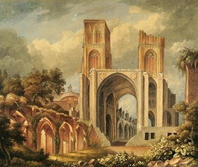 La cathédrale en ruines vue de la place verte après 1815