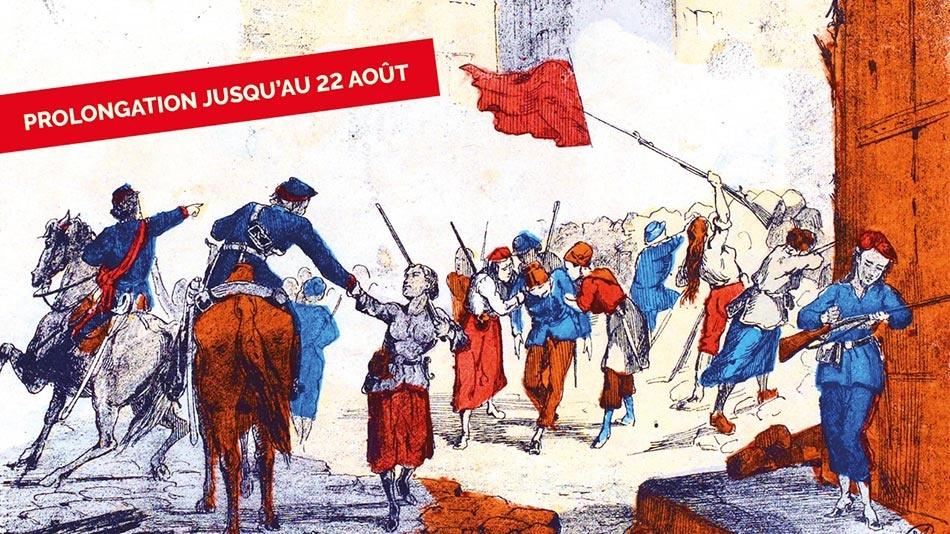 Barricade de la place Blanche défendue par des femmes - Commune Paris