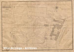 Plan approuvé le 20 Mars 1838. Lotissement résidentiel sur le site de l'ancienne propriété des Augustins (rues des Augustins et du Jardin botanique).