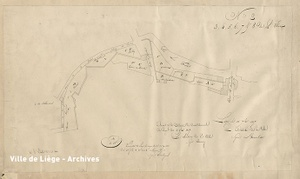 Plan approuvé le 11 Novembre 1837. Aménagements des rues Sur-La-Fontaine et des Fossés, avec tracé des remparts et des portes Sainte-Marguerite et Saint-Martin.