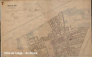 Plan approuvé le 11 février 1874. Expropriation du quartier situé entre la chaussée des prés et le nouveau Boulevard Saucy (extrait).