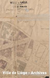Plan approuvé le 27 mai 1875. Création de la rue Léopold : expropriations, voiries et nouveaux îlots (extrait).
