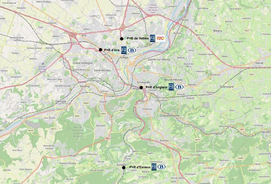 Carte des gares de transport