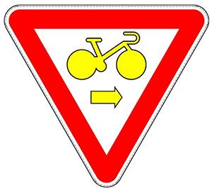 Signal de priorité cycliste pour tourner à droite B22