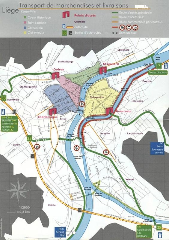 Carte d'accès à Liège-centre
