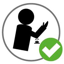 Activer le bouton avec le coude ou le dos de la main.