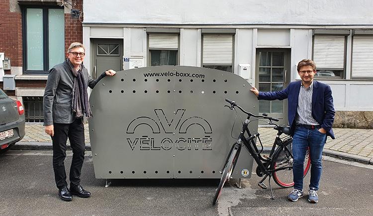 box vélos sécurisés inaugurés par M. Roland Léonard et M. Gilles Foret