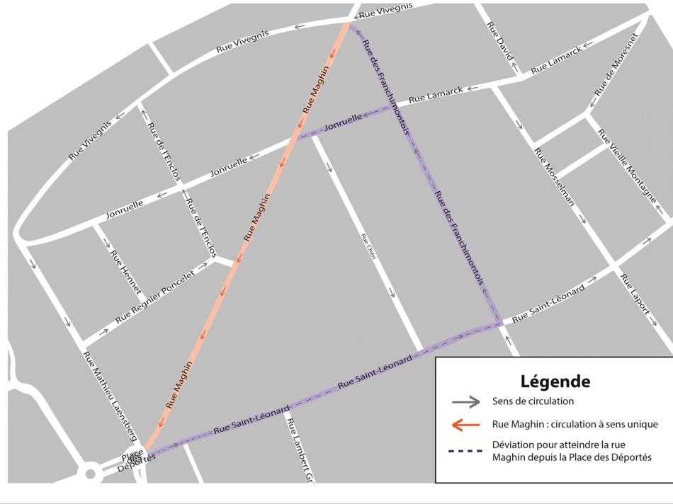 Rue Maghin : Circulation à sens unique.